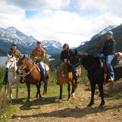 Horseback riders in Alberta Rockies